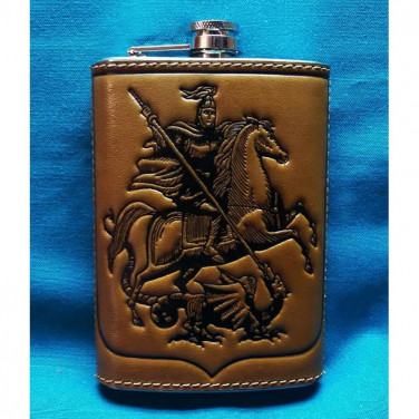 Фляга для алкоголя Святой Георгий Победоносец brown leather