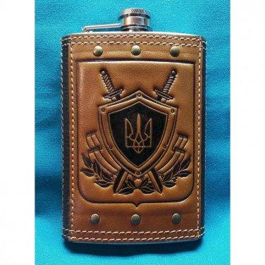 Фляга для алкоголя подарочная Герб Украины brown leather