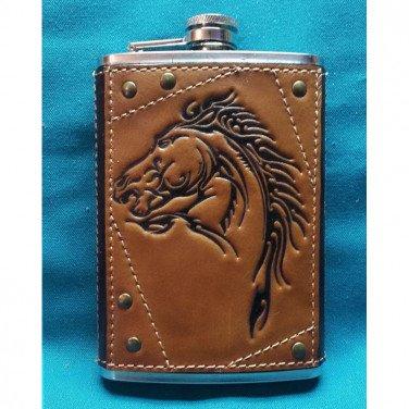 Фляга подарочная из нержавейки Мустанг brown leather