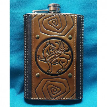 Фляга для алкоголя handmade Грифон brown leather