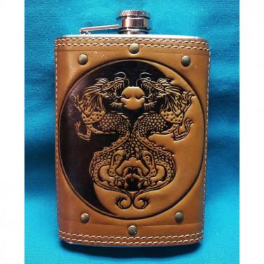 Армійська Фляга з нержавійки Ін-Янь brown leather