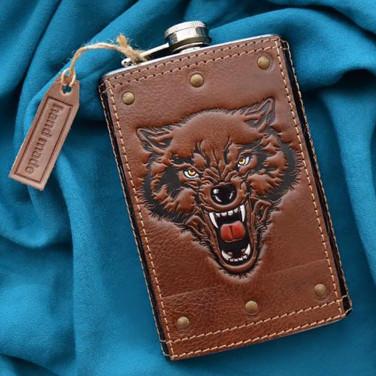 Кожаная фляга Predator brown leather