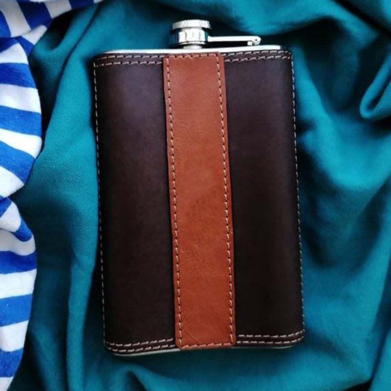Кожаная фляга Old Salt brown leather