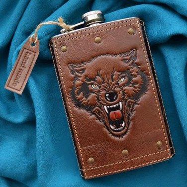 Шкіряна фляга Predator brown leather