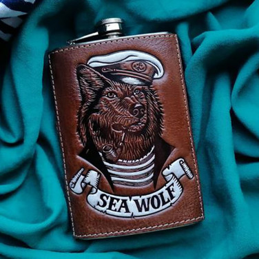 Кожаная фляга Sea Dog brown leather