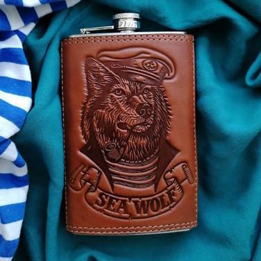Шкіряна фляга Old Salt brown leather