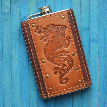 Фляга для алкоголя Draco brown leather