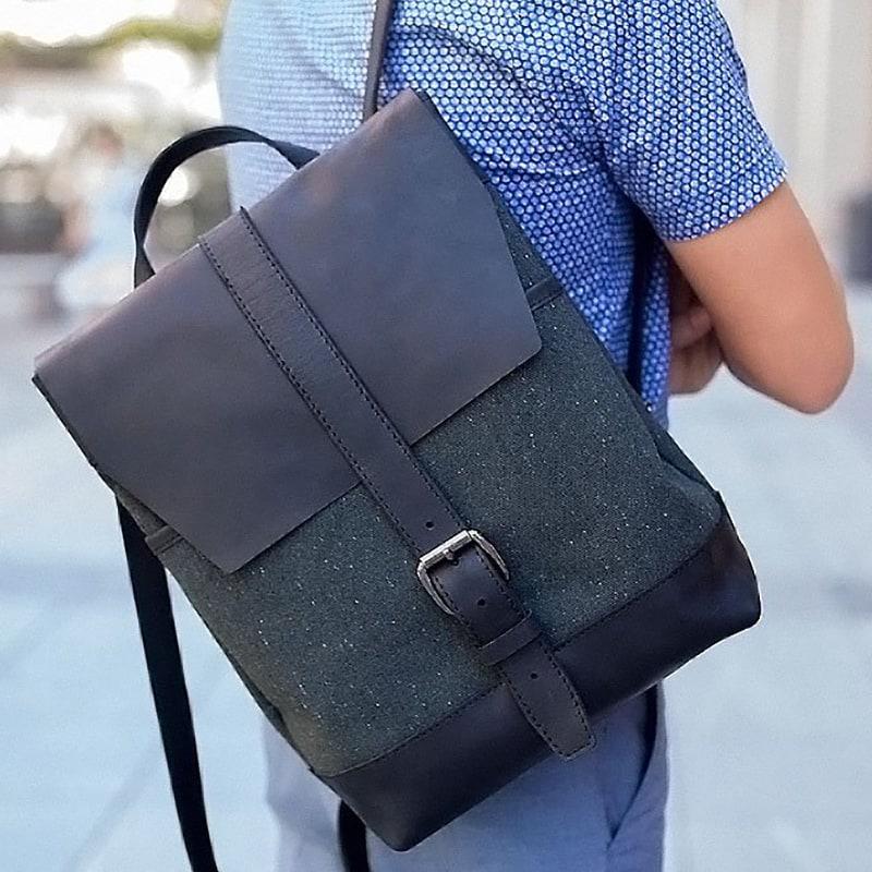 508778ed76a4 AXES | Городской рюкзак мужской Вackpack Leathercanvas Khaki. Цена ...