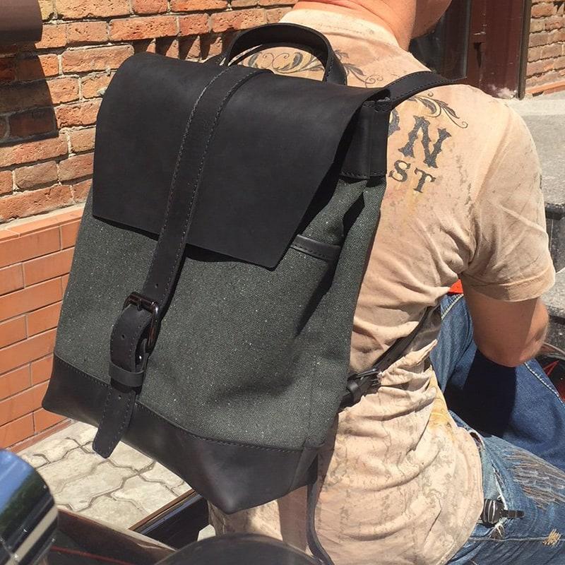 Міський рюкзак чоловічий Васкраск Leathercanvas Khaki