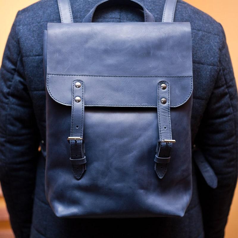 7c7c80c3679f AXES | Кожаный рюкзак мужской Вackpack Вlue Leather. Цена, купить ...