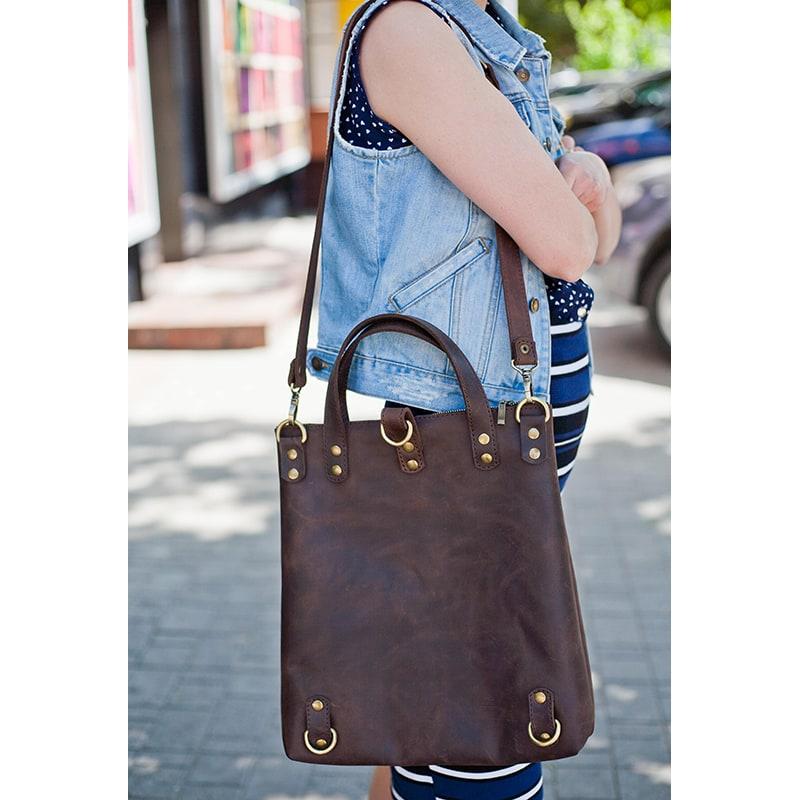 шкіряний Рюкзак жіночий Васкраск Brown Leather