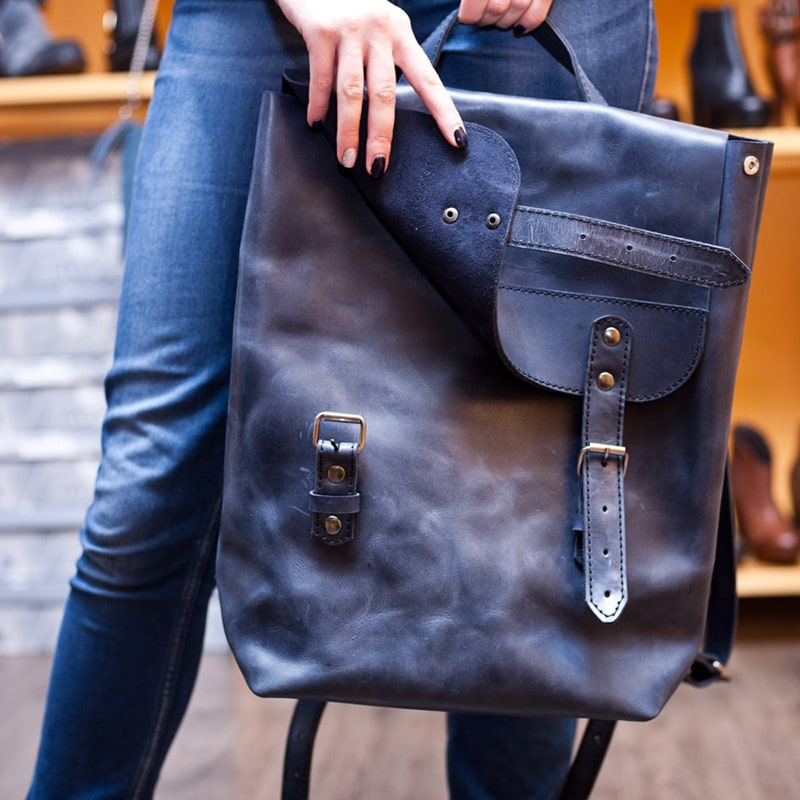 Рюкзак женский городской Вackpack Blue Leather