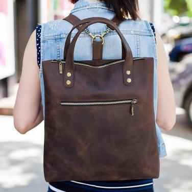 Рюкзак шкіряний жіночий Васкраск Brown Leather