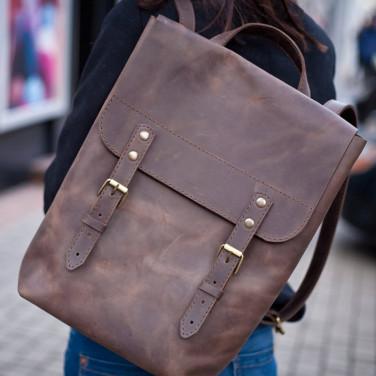 Сумка рюкзак жіночий Васкраск Vintage Brown Leather