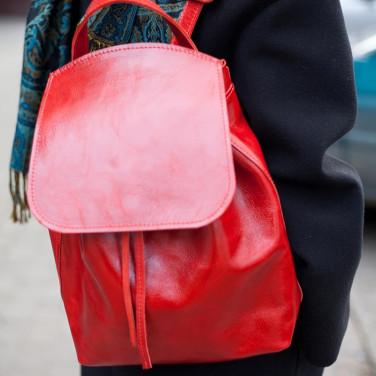 Женский рюкзак кожаный Вackpack Red Leather