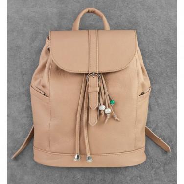 Шкіряний рюкзак дизайнерський жіночий Васкраск Beige Leather