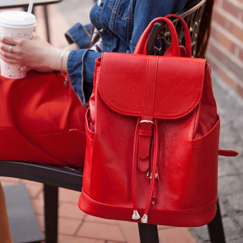 Рюкзак кожаный авторский женский Вackpack Red Leather