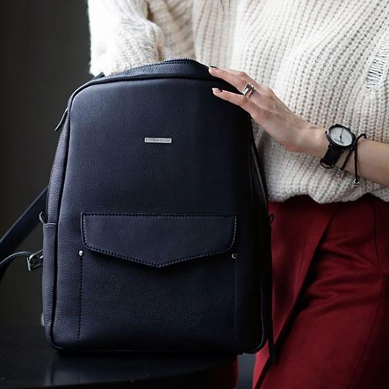 Рюкзак шкіряний жіночий Васкраск Dark Blue Leather