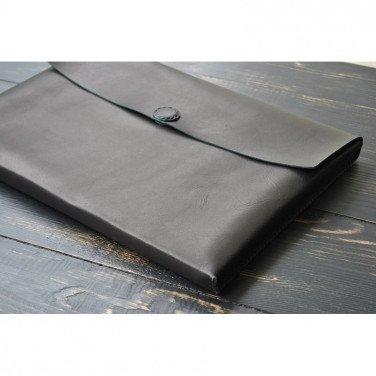 Чохол шкіряний для ноутбука або Макбук black leather