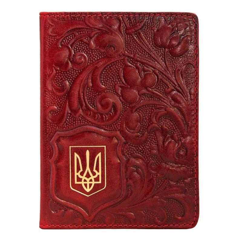 Обложка для паспорта кожаная Калина brown leather