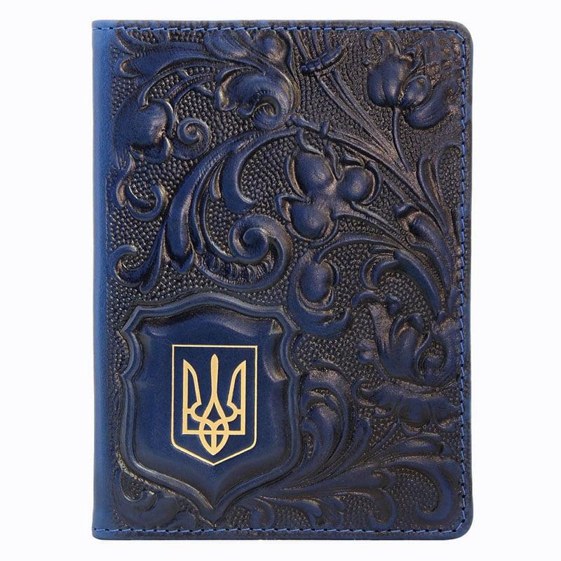 Обкладинка для паспорта шкіряна Калина brown leather