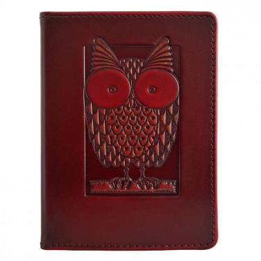 Шкіряна обкладинка для паспорта Сова brown leather