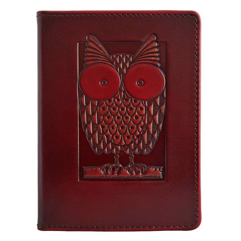 Кожаная обложка для паспорта Сова brown leather