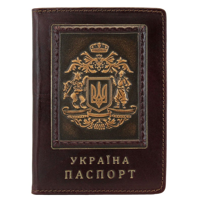 Обложка на паспорт Золотой Герб Украины brown leather