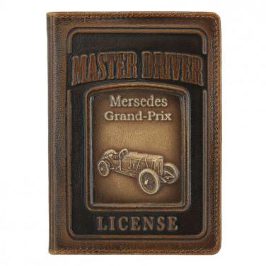 Кожаная обложка на водительское удостоверение Mercedes-Benz brown leather