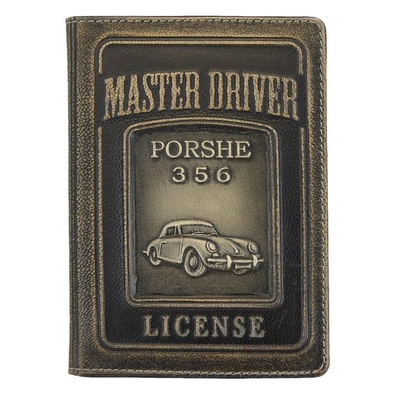 Кожаная обложка для водительского удостоверения Porsche 356 black leather