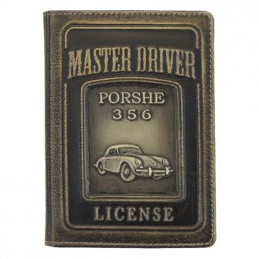 Шкіряна обкладинка для посвідчення водія Porsche 356 black leather