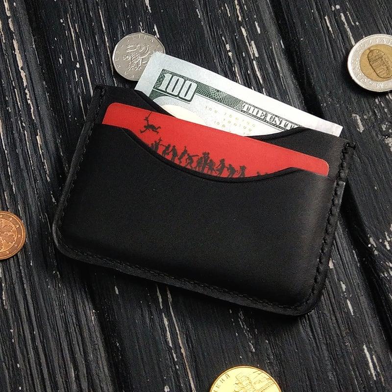 Шкіряний картхолдер Compact black leather