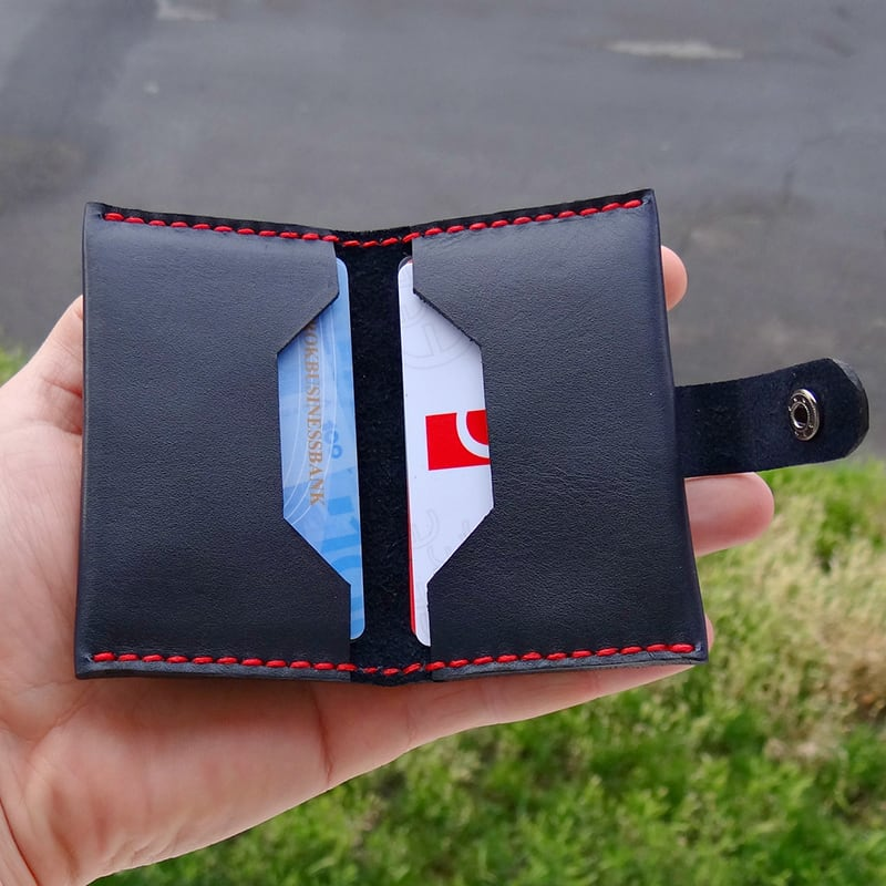 Кожаный картхолдер Mini blue leather