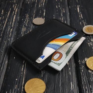 Кожаный картхолдер Compact black leather