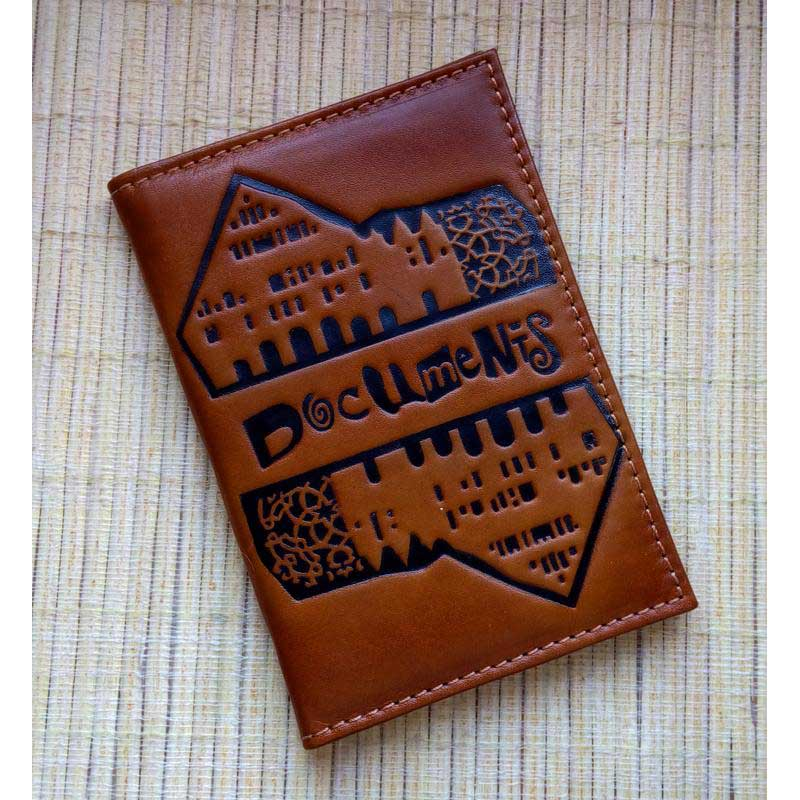 Обкладинка на паспорт шкіряна Document brown leather