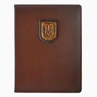 Адресная папка кожаная Герб Украины brown leather