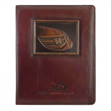 Папка на підпис шкіряна Лого brown leather