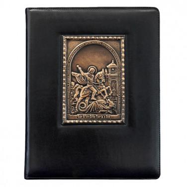 Папка адресная кожаная Георгий Победоносец black leather