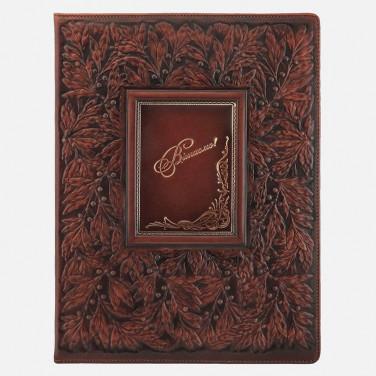 Папка поздравительная кожаная Вітаємо brown leather