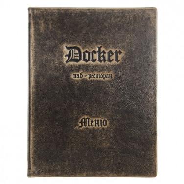 Папка меню кожаная Сarte brown leather