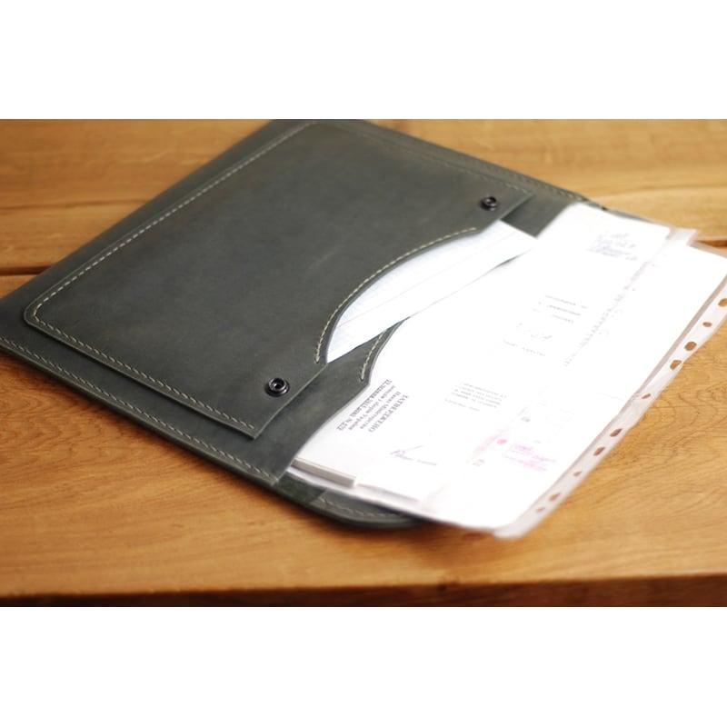 Кожаная папка А4 Folder black leather