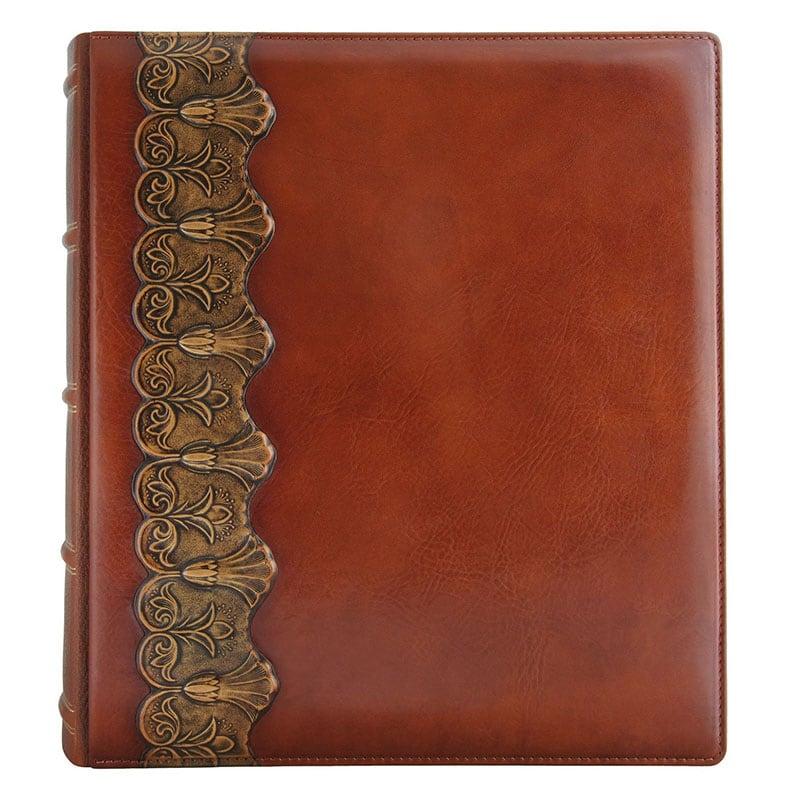 Фотоальбом у шкіряній обкладинці Бронзова Арабеска brown leather