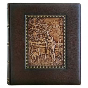 Кожаный фотоальбом Охота на Лис brown leather
