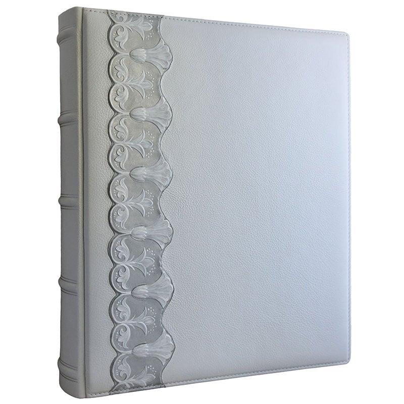 Фотоальбом у шкіряній обкладинці Срібна Арабеска gray leather