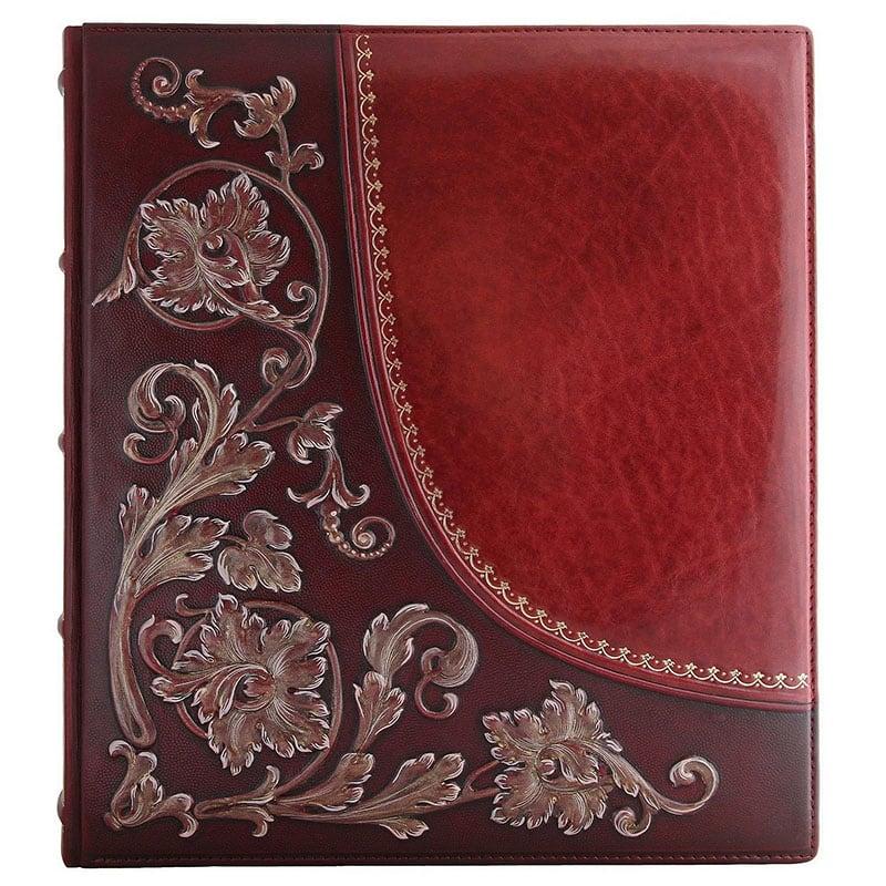 Фотоальбом в кожаной обложке Бронзовый Дамаск brown leather