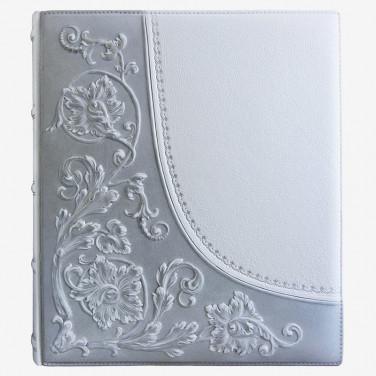 Шкіряний фотоальбом Сріблястий Дамаск gray leather