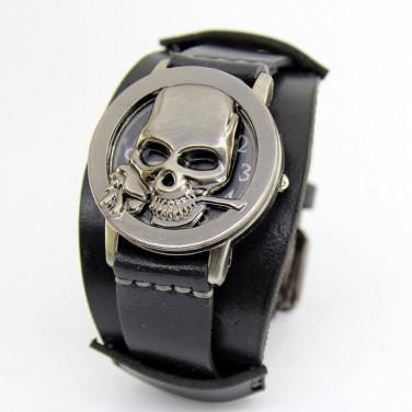 Часы с кожаным браслетом Rose Skeleton