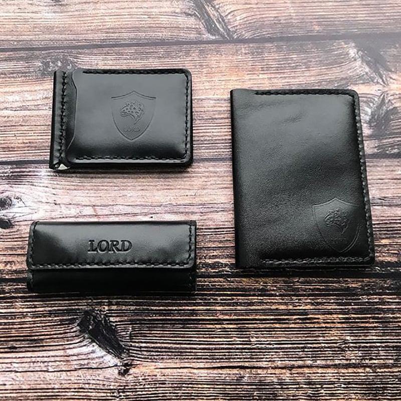 Подарочный набор аксессуаров для мужчин Laconic Style Black Leather