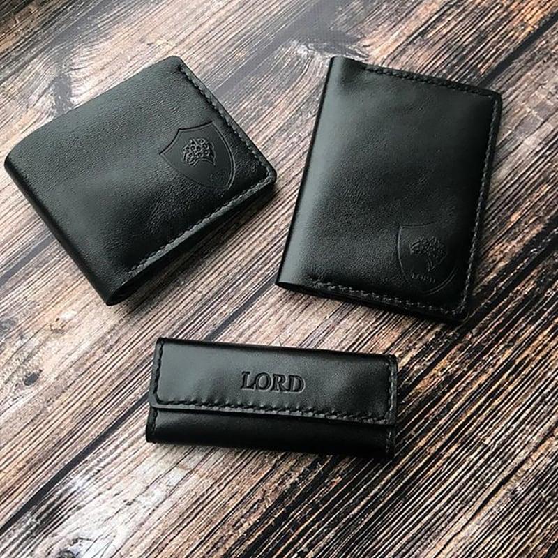 Подарочный набор кожаных аксессуаров для мужчин Trend Style Black Leather