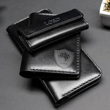 Подарунковий набір шкіряних аксесуарів для чоловіків Practical Style Black Leather